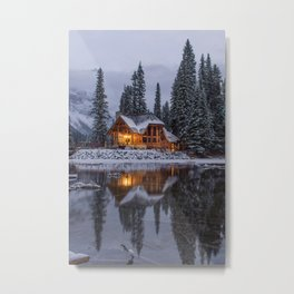 Cabin in Winter Woods (Color) Metal Print
