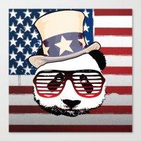 patriotic Canvas Prints featuring Patriotic Panda by crayzeestuff