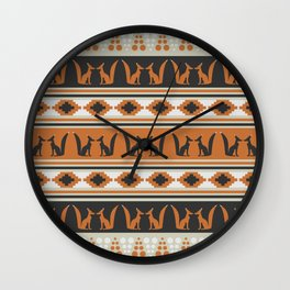 Foxes and ethnic shapes Wall Clock