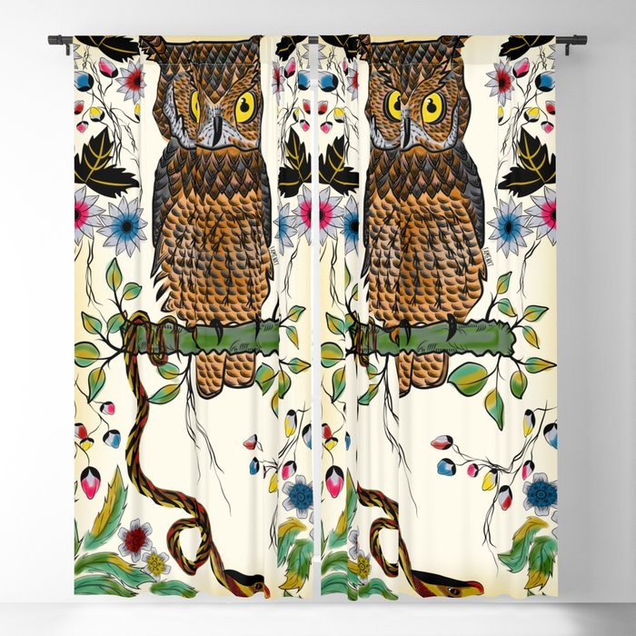 Vibrant Jungle Owl and Snake Blackout Curtain