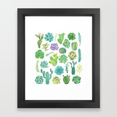 Watercolor cactus and succulent Framed Art Print