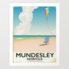 Mundesley Norfolk beach kite holiday poster Art Print