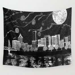 Portland Oregon Skyline Wall Tapestry