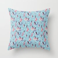 mermaids Throw Pillows featuring Mermaids by Sara Maese