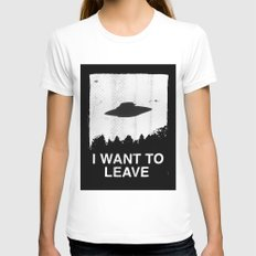 I want to leave White LARGE Womens Fitted Tee