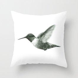 Ruby-Throated Hummingbird Drawing Throw Pillow