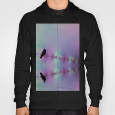 Birds on a wire reflected Hoody