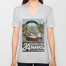 1966 Le Mans poster, Race poster, car poster, garage poster Unisex V-Neck