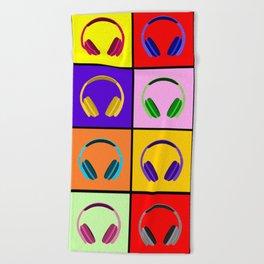 Pop Art Headphones Beach Towel