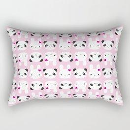 Super Cute Kawaii Bunny and Panda (Pink) Rectangular Pillow