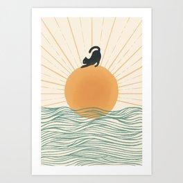 Good Morning Meow 7 Sunny Day Ocean  Art Print