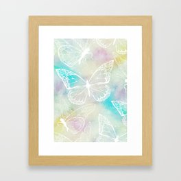 colorful pastel butterfly pattern, woman fashion Framed Art Print