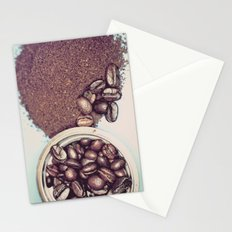Coffee Beans and Coffee Ground Stationery Cards
