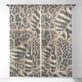 Animal Print - Leopard and Zebra - pastel gold Sheer Curtain