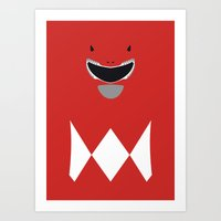 power ranger Art Prints featuring Power Rangers - Red Ranger Minimalist by TracingHorses