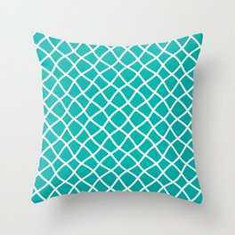 Turquoise and white curved grid pattern Throw Pillow