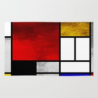mondrian Area & Throw Rugs featuring Luxury Mondrian by Dizzy Moments