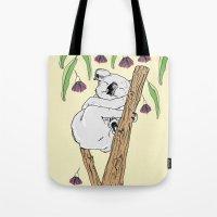 koala Tote Bags featuring Koala by Madmi
