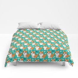 Cute corgi illustration on turquoise background pattern Comforters