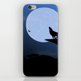 Wolf Howl Rising Moon iPhone Skin