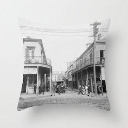 Madison Street, New Orleans, Louisiana 1906 Throw Pillow
