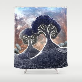 Broccoli Planet in Winter Shower Curtain