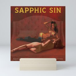 Sapphic Sin - Erotic Lesbian Nude Naked Pulp Novel Cover Art Mini Art Print