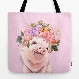 Baby Pig with Flowers Crown Tote Bag