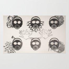 Gas Mask Motif Rug