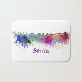 Berlin skyline in watercolor Bath Mat