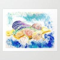 vegetables Art Prints featuring Vegetables by Elena_Voro