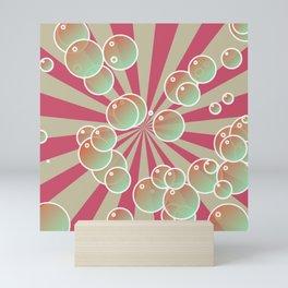 Bubbles on radial background Mini Art Print