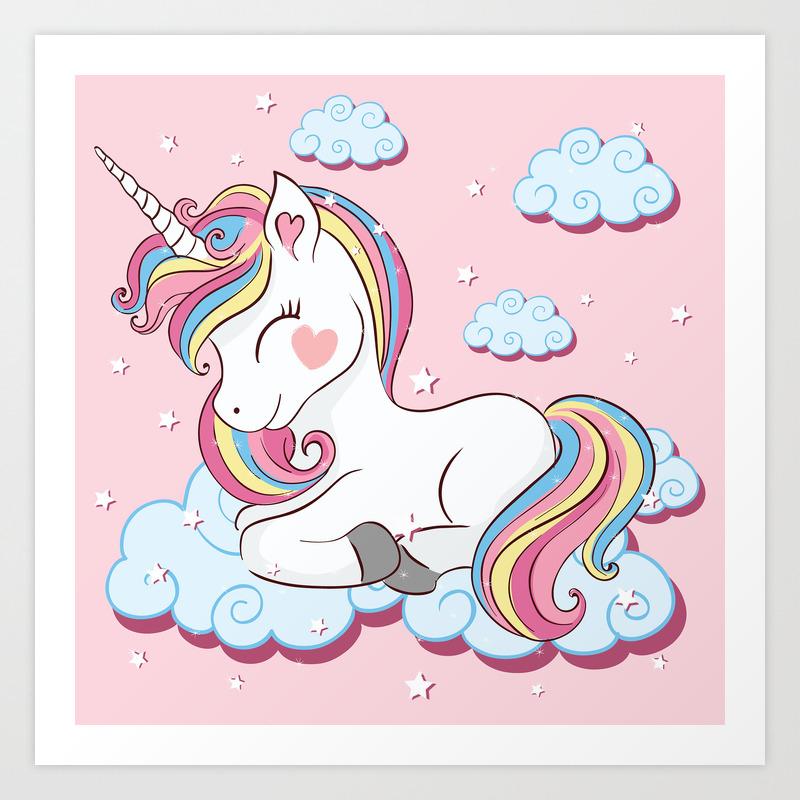 Cute Unicorn Illustration Art Print By Senaykurtulus Society6