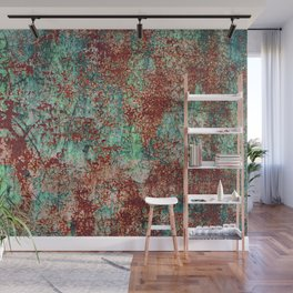 Abstract Rust on Turquoise Painting Wall Mural