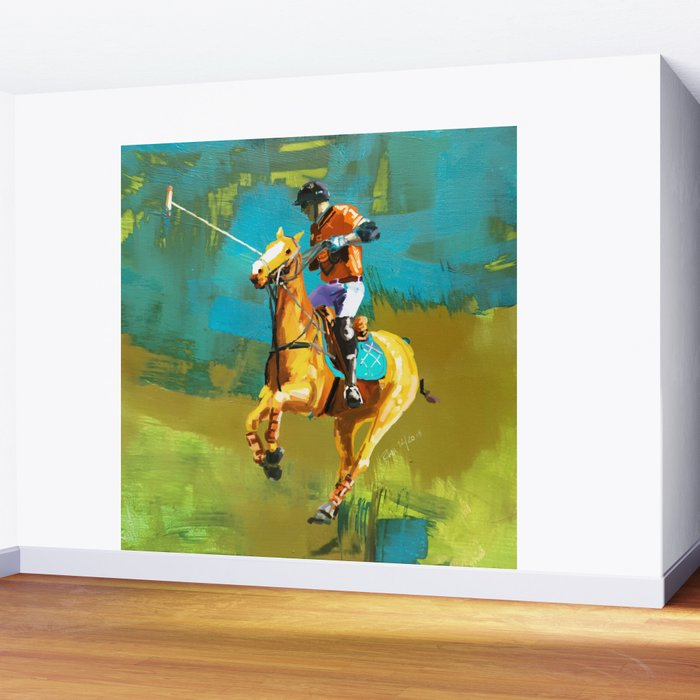poloplayer abstract turquoise ochre Wall Mural