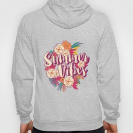 Summer vibes typography banner round design in tropical flower frame 001 Hoody