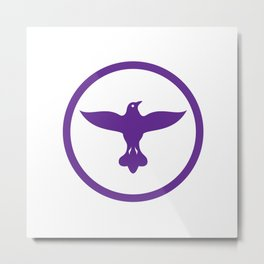 Dove Spreading Wings Circle Metal Print