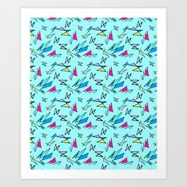 Wacky 80s//BLUE//Geo Pattern #3 Art Print