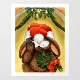 RABBIT UNDER THE MISTLETOE Art Print