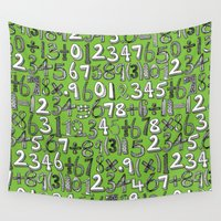 math Wall Tapestries featuring math doodle green by Sharon Turner