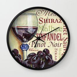 Red Wine Text Wall Clock