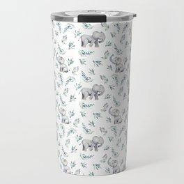 Bear & Mouse - Cute 4 Kids - Little Elephant In Flower Meadow Pattern I Travel Mug
