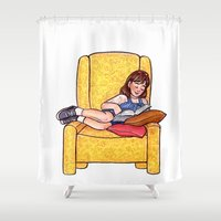 roald dahl Shower Curtains featuring Reading fictional characters: Matilda by Susanne