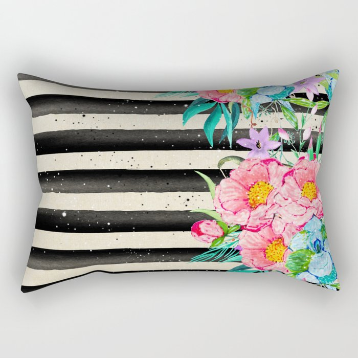 Modern stripes and tropical flowers hand paint Rectangular Pillow