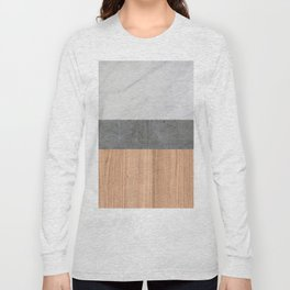 Carrara Marble, Concrete, and Teak Wood Abstract Long Sleeve T-shirt