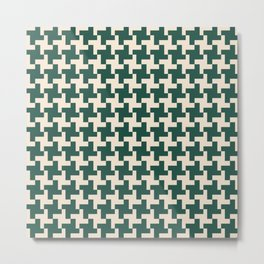 Houndstooth Pattern Forest Green and Beige Metal Print