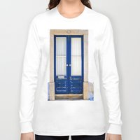 portugal Long Sleeve T-shirts featuring Door Ericeira Portugal blue by Sébastien BOUVIER