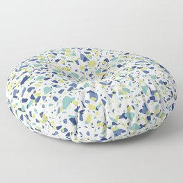 Terrazo in Blue, green and citron Floor Pillow