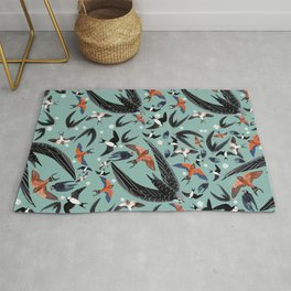 Swallows and swift pattern in blue Rug