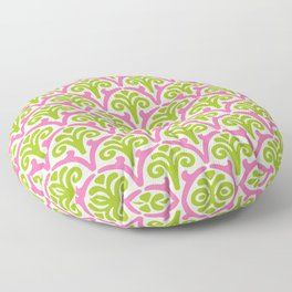 Floral Scallop Pattern Chartreuse and Pink Floor Pillow